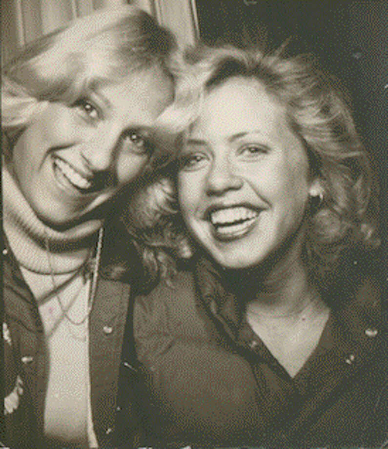 "Then: ""Jersey Girls"" Maria Reilly and Sarah Olson in a Metuchen, New Jersey photo booth, 1978 Photo: COURTESY"