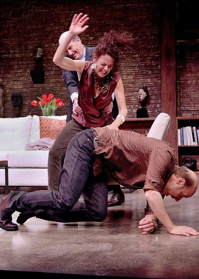 "Alan (Warren David Keith, rear) tries to intervene when Veronica (Stacy Ross) attacks her husband Michael (Remi Sandri, front) in ""God of Carnage"" at Marin Theatre Company Photo: Ed Smith"