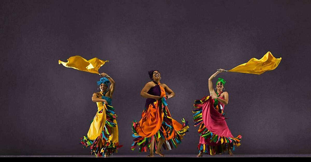 Cuban rumba company Las Que Son Son will be featured as part of the 2012 San Francisco Ethnic Dance Festival, June 2-July 1. Pictured (L to R): Jamaica Itule-Simmons, Cora Barnes, Adriene Harrison, Mary Massella, Kristina Ramsey. Photo: RJ Muna.