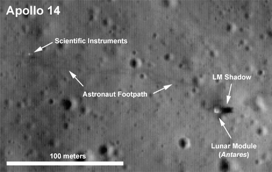 This image, from NASA's Lunar Reconnaissance Orbiter, shows the Apollo 14 landing and exploration site.