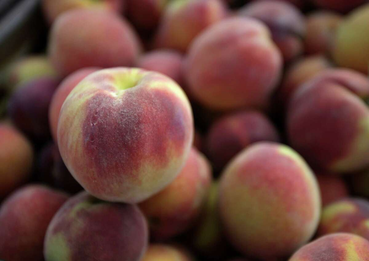 Peaches just off the tree from Burg's Corner near Stonewall, TX. Tuesday, May 29, 2012.