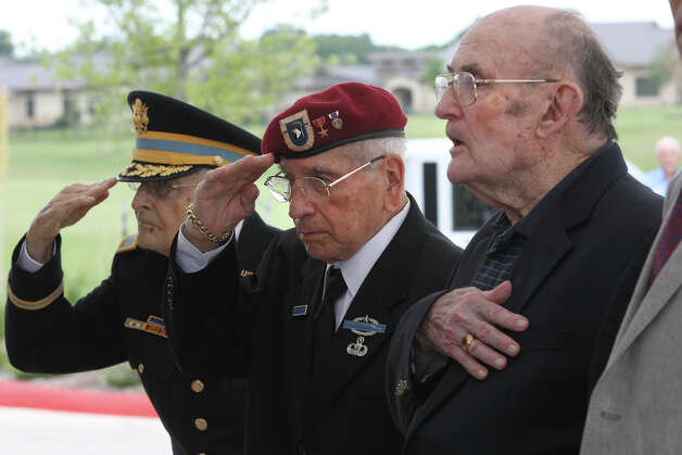 French Legion of Honor recipients Edward Kerker of San Antonio (from left), George Silvas of Corpus Christi and Harry Nixon of San Antonio attend the ceremony at the Army Residence Community where they were awarded the honor. Photo: John Davenport, San Antonio Express-News