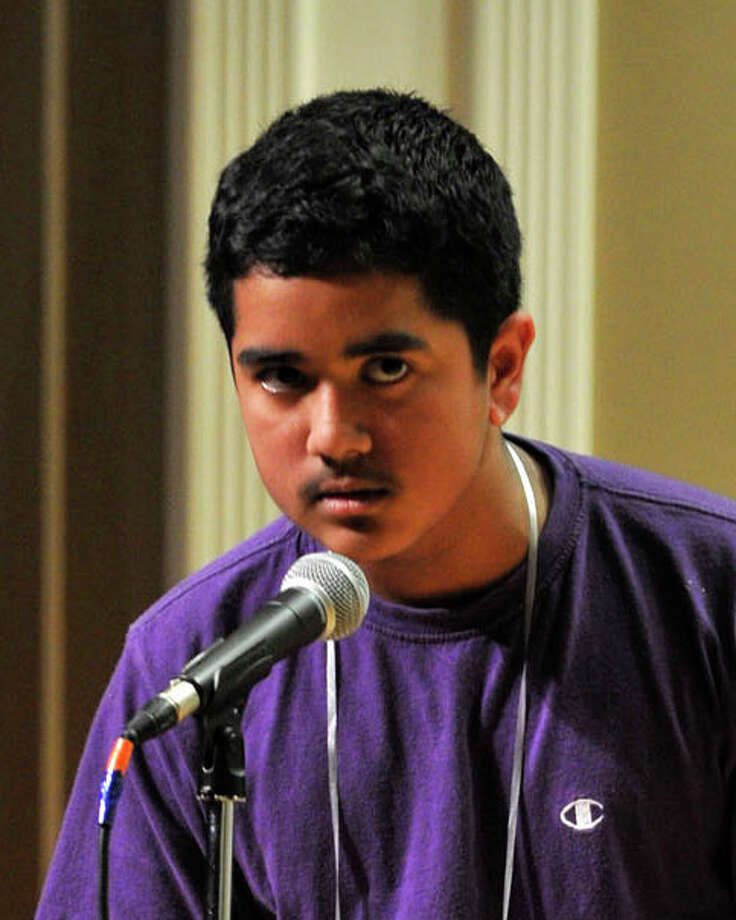 Rahul Malayappan, of Danbury, CT, attempts to spell a word during the Hearst Media Services Regional Spelling Bee at Western Connecticut State University's midtown campus in Danbury on Wednesday, March 21, 2012. Photo: Jason Rearick / The News-Times