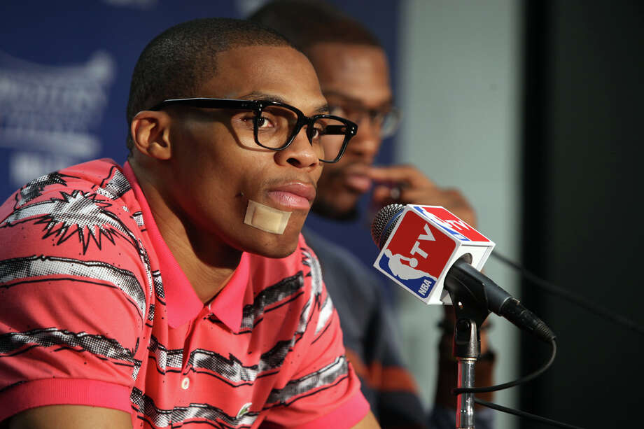 Russell Westbrook listens to a question during the press conference Tuesday May 29, 2012, after the 120-111 victory by the Spurs against Oklahoma City in the Western Conference finals, Tuesday May 29 at the AT&T Center. Photo: Julysa Sosa, San Antonio Express-News / © 2012 San Antonio Express-News