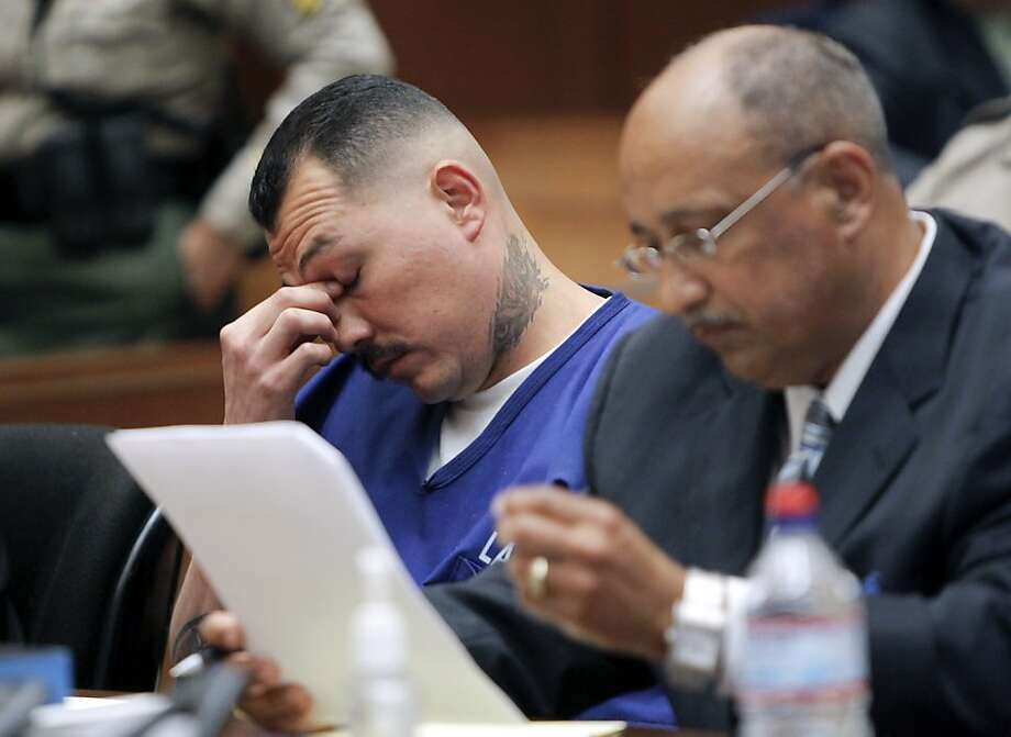 Defendant Louie Sanchez, left, appears in Los Angeles Superior Court with an attorney on Wednesday, May 30, 2012, in Los Angeles. Sanchez and co-defendant Marvin Norwood are accused of beating San Francisco Giants fan Bryan Stow in the parking lot of Dodger Stadium after a baseball game on March 31, 2011. (AP Photo/Nick Ut, Pool) Photo: Nick Ut, Associated Press