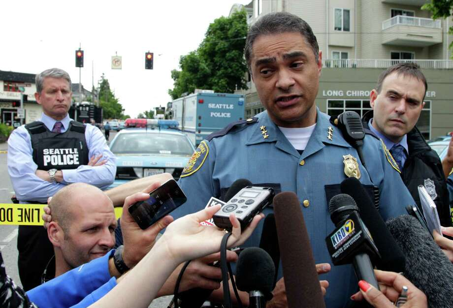 Seattle Police Deputy Chief Nick Metz talks to reporters near Cafe Racer on May 30, 2012, in Seattle. Photo: AP
