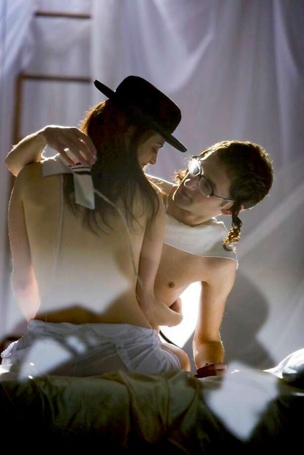"Juliet and Romeo embrace; (l-r) Melissa Weisz (Faggie/Juliet), Lazer Weiss in, ""Romeo and Julio in Yiddish."" Photo: Mafalda Melo, Nancy Fishman Releasing"