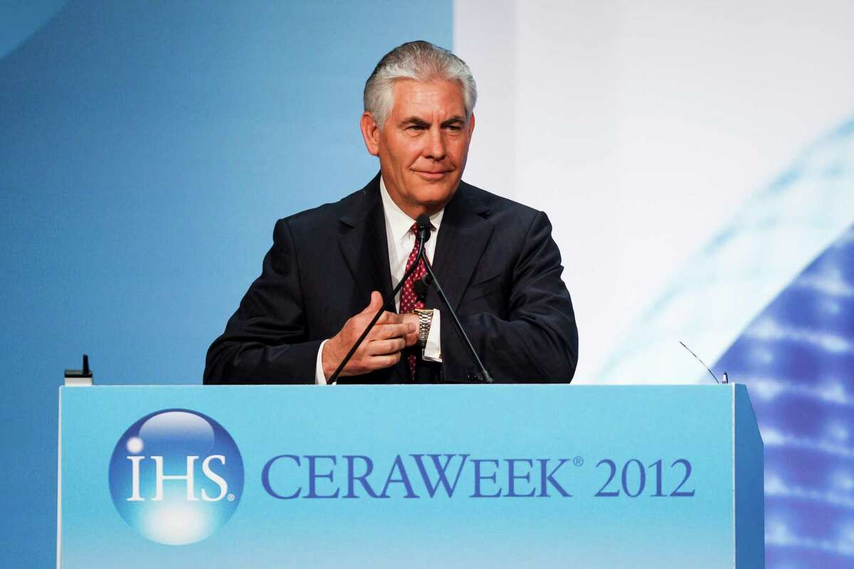 Rex Tillerson, CEO of Exxon Mobil, speaks during the annual CERA Week energy conference at the Hilton Americas, Friday, March 9, 2012, in Houston. ( Michael Paulsen / Houston Chronicle )