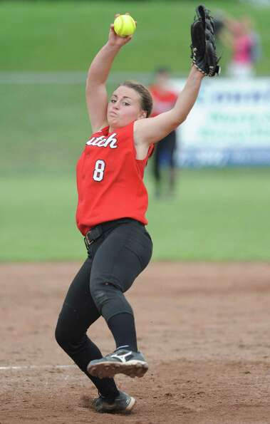 Guilderland pitcher Mallory Harrigan throws the ball during a Class AA semifinals softball game agai