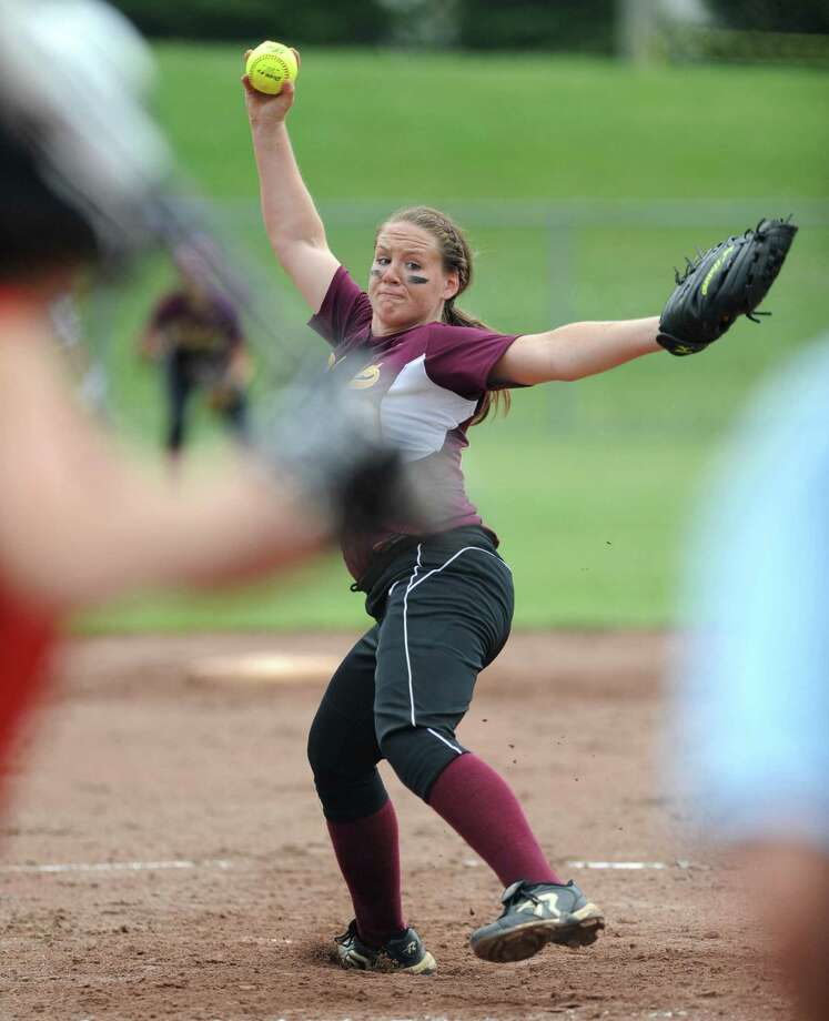 Colonie pitcher Kelly Lane throws the ball during a Class AA semifinals softball game against Guilderland at Veeder Park Wednesday, May 30, 2012 in Colonie, N.Y. (Lori Van Buren / Times Union) Photo: Lori Van Buren