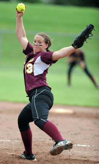 Colonie pitcher Kelly Lane throws the ball during a Class AA semifinals softball game against Guilde