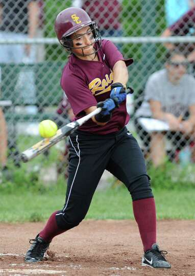 Colonie's Mckenzie Michel swings at the ball during a Class AA semifinals softball game against Guil