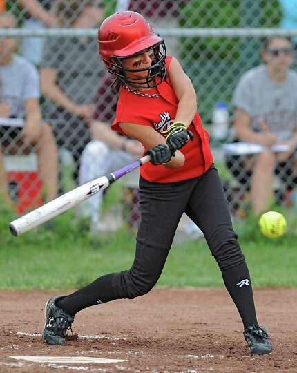 Guilderland's Tori Greco gets a single during a Class AA semifinals softball game against Colonie at