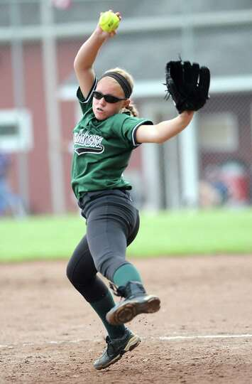 Shenendehowa pitcher Erika Daigle throws the ball during a Class AA semifinals softball game against