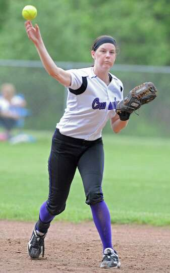 Catholic Central shortstop Hannah Kutny throws the ball to first base during a Class AA semifinals s
