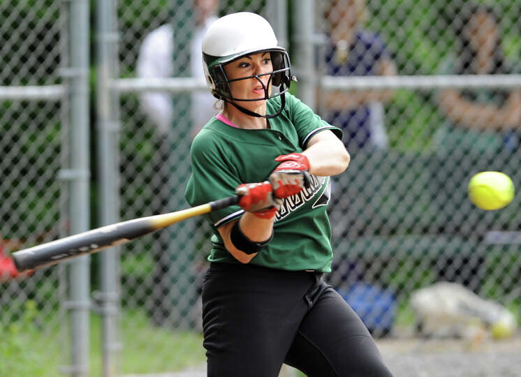 Shenendehowa's Katie O'Gorman swings for the ball during a Class AA semifinals softball game against