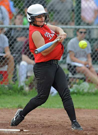Guilderland pitcher Mallory Harrigan swings for the ball during a Class AA semifinals softball game