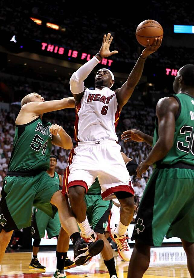 Miami Heat small forward LeBron James (6) drives to the basket while being guarded by Boston Celtics center Greg Stiemsma (54) during Game 2 of the NBA Eastern Conference finals at AmericanAirlines Arena in Miami, Florida, Wednesday, May 30, 2012. (Gary Coronado/Palm Beach Post/MCT) Photo: Gary Coronado, McClatchy-Tribune News Service