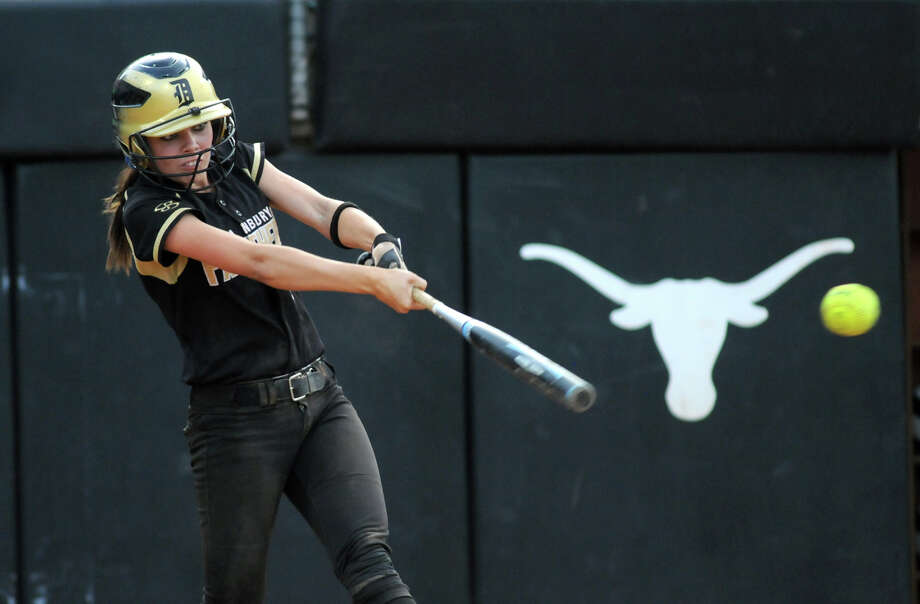 Danbury sophomore shortstop Taylor Vrazel drives a ball against Crawford pitcher Carrigan Chambers in the top of the 6th inning of their Class 2A semifinal matchup at the 2012 UIL State Softball Championships at McCombs Field in Austin on Wednesday. Photo: Jerry Baker, For The Chronicle