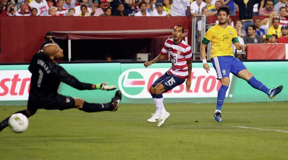 LANDOVER, MD - MAY 30: Alexandre Pato #19 of Brazil follows his goal as Edgar Castillo #15 and goalie Tim Howard #10 of USA follow the ball during an International friendly game at FedExField on May 30, 2012 in Landover, Maryland. Photo: Rob Carr, Getty Images / 2012 Getty Images