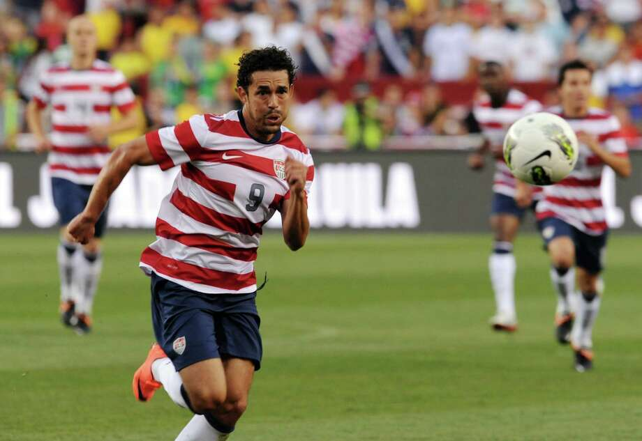 Herculez Gomez of the US goes for the ball against Brazil during an international friendly at FedEx Field in Landover, Maryland, on May 30, 2012.   AFP PHOTO/Nicholas KAMMNICHOLAS KAMM/AFP/GettyImages Photo: NICHOLAS KAMM, AFP/Getty Images / AFP