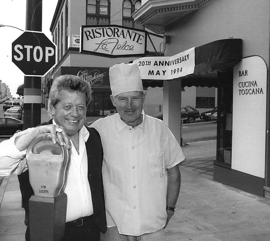 La Felce owner Romano Marcucci, left.  Fellow in chef's hat is unidentified. Photo: John O'hara