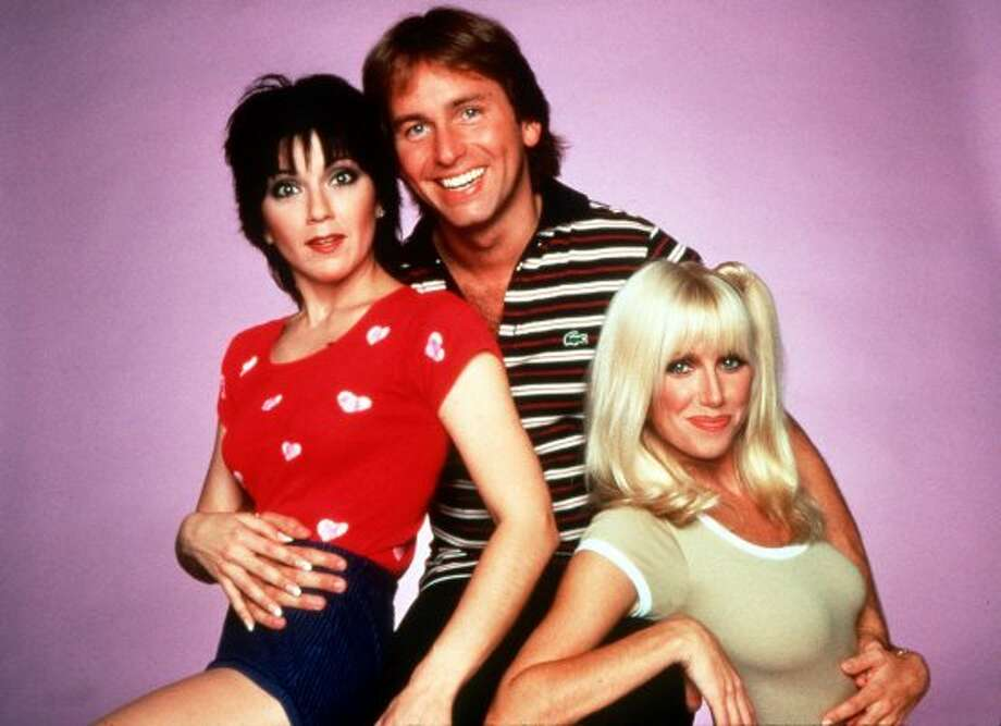 JOYCE: The cast of the 1970s sitcom Threes Company -- Joyce DeWitt, John Ritter and Suzanne Somers.  (AP)