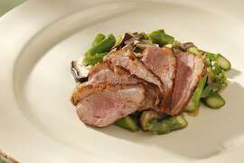 Warm Asparagus & Mushroom Salad with Duck as seen in San Francisco, California on Wednesday, May 9, 2012. Food styled by Stephanie Kirkland.