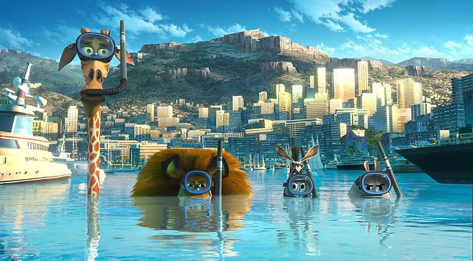(Left to right) Melman the Giraffe (David Schwimmer), Alex the Lion (Ben Stiller), Marty the Zebra (Chris Rock) and Gloria the Hippo (Jada Pinkett Smith) go undercover in Monaco on a search for the Penguins in DreamWorks Animation's MADAGASCAR 3: EUROPE'S MOST WANTED Photo: PDI/DreamWorks, Paramount Pictures