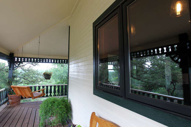 The wrap around side porch outside the kitchen window at the Kuhn home in Boerne, Saturday, May 26, 2012. (JENNIFER WHITNEY) Photo: JENNIFER WHITNEY, Jennifer Whitney/ Special To The Express-News / special to the Express-News