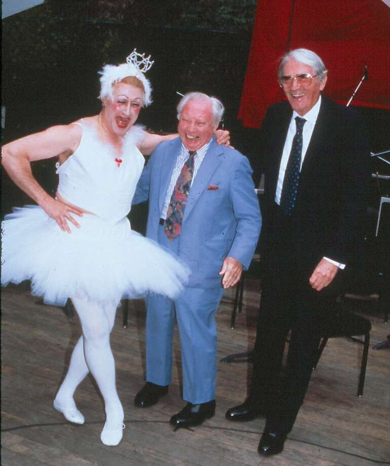 Mstislav Rostropovich in tutu with Isaac Stern (center) and Gregory Peck at the San Francisco Symphony's celebration of Stern's 70th birthday in 1990 at Stern Grove. Photo: San Francisco Symphony