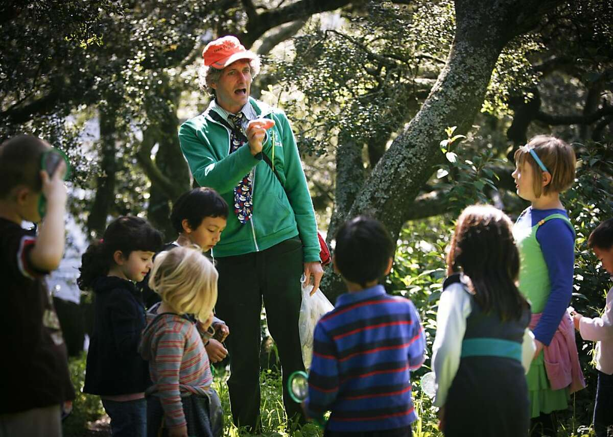 Chris Giorni, Head Frog of Tree Frog Treks, talks about plants found in Golden Gate Park on Tuesday, March 29, 2011 in San Francisco, Calif.