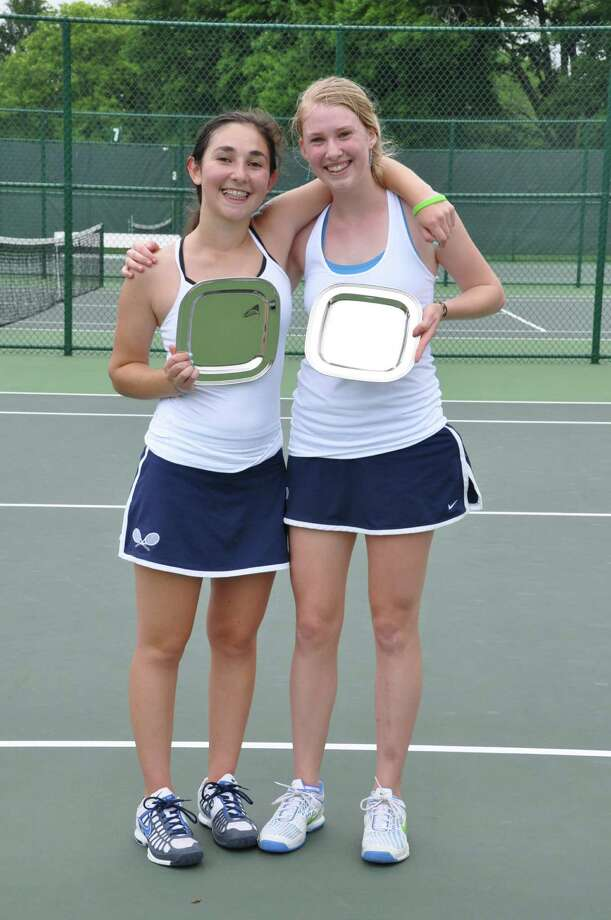 Greens Farms Academy's No. 1 doubles team of Avery Wolfe and Olivia Kjorlien celebrate after winning the FAA doubles championship. Photo: Contributed Photo