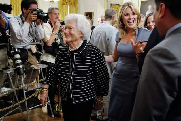 Former first lady Barbara Bush (C) and granddaughter Jenna Bush Hager (R), daughter of former President George H.W. Bush, leave after the unveiling of former President Bush's offical portrait in the East Room of the White House May 31, 2012 in Washington, DC. Photo: Chip Somodevilla, Getty Images / 2012 Getty Images
