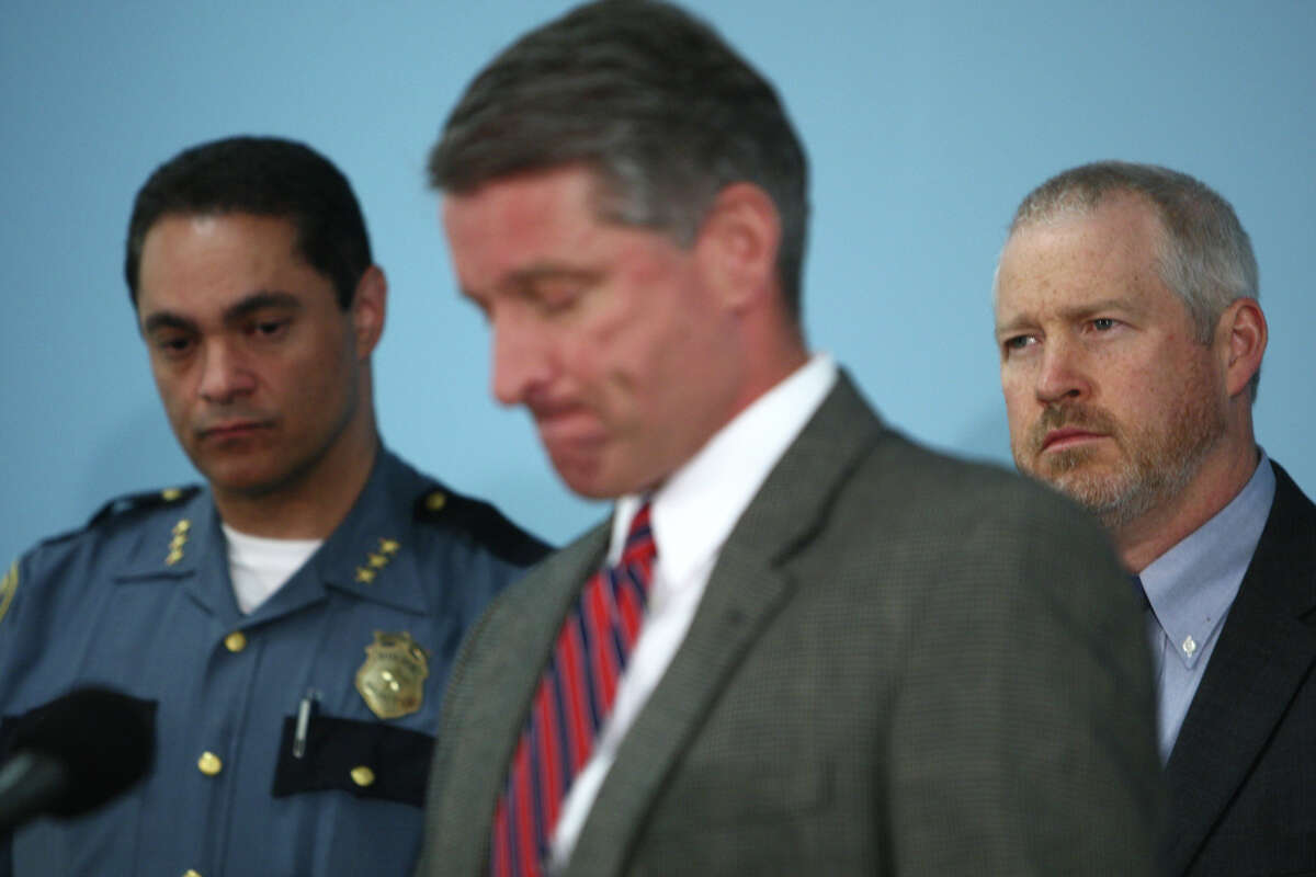 Deputy Seattle Police Chief Nick Metz, Assistant Chief Jim Pugel and Mayor Mike McGinn speak to reporters after a series of shootings in Seattle the previous day. Both Metz and Pugel said that the scene at Cafe Racer was likely the worst they had ever seen in their law enforcement careers. The press conference was held on Thursday, May 31, 2012 at Seattle Police Department's downtown headquarters.