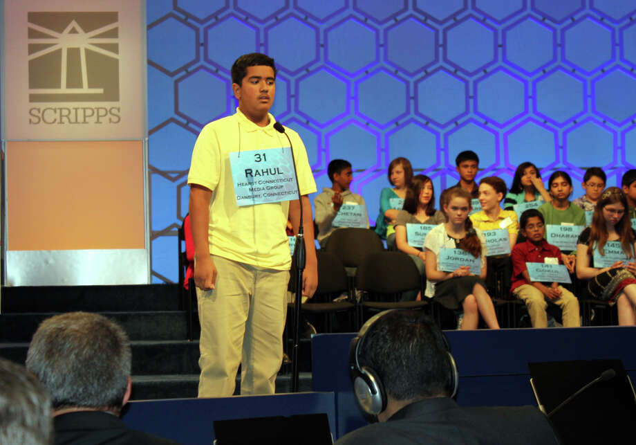 Meredith Moriak/Midland Reporter-Telegram Five-time Scripps National Spelling Bee repeater Rahul R. Malayappan, a Broadview Middle School eighth grader, thinks before spelling quinquennalia  incorrectly during round five of the bee. Malayappan was one of 50 spellers to make it into Thursday morning's semifinals at the Gaylord National Hotel in National Harbor, Md. Photo: Contributed Photo