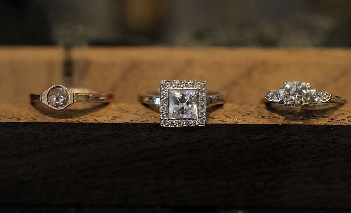 Engagement rings at D & H sustainable jewelers in the Castro, San Francisco, Calif. on May 14, 2012. The store requires a third party certification on their jewels and materials as a standard practice in the industry. The story is only one year old and combines sales and make of jewelry as well as a wine bar. The store is also a display for students art.