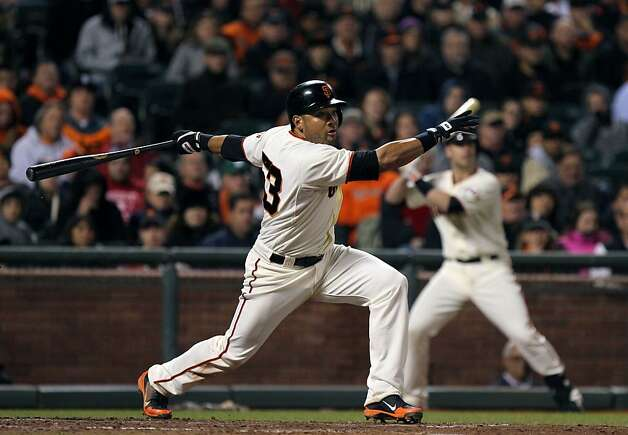 San Francisco Giants Melky Cabrera hits a double in the seventh inning scoring two runs on the play against the Colorado Rockies Tuesday, May 15, 2012 in San Francisco Calif. Photo: Lance Iversen, The Chronicle