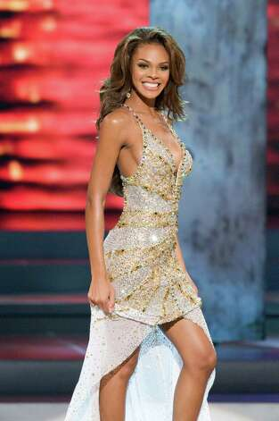 Texan Crystle Stewart, Miss USA 2008, repeated Smith's feat at Miss Universe when she, too, slipped and fell during the evening gown competition. She didn't make it out of the top 10. Photo: Darren Decker, HO / MISS UNIVERSE L.P., LLLP