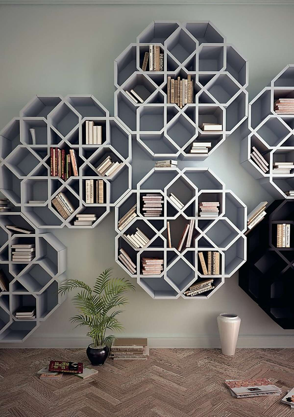 The MiniZelli is said to remind designer Younes Duret of the mosaics from his Moroccan childhood. Made from Simopor, a lightweight PVC free material, the shelves are constructed from eight modules which lock together without any hardware.