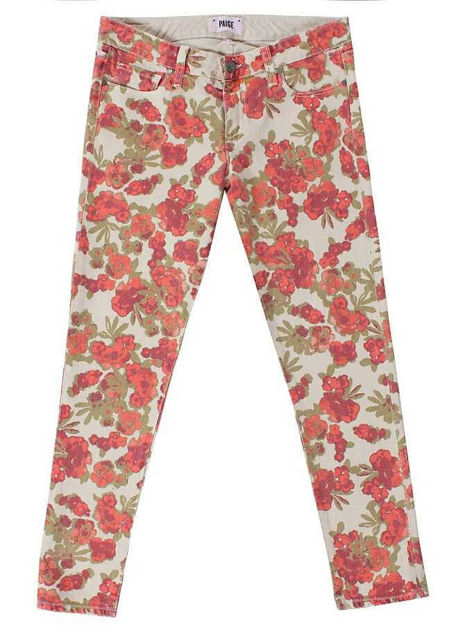 New floral-printed denim are a hot trend for spring. Seen here are styles from Paige. Photo: Paige