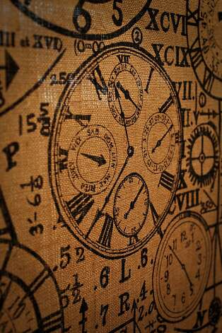 Clock face printed on burlap, a favorite of owners, Alice and Susan Miyamoto, is seen in Satin Moon Fabrics on Tuesday, Feb. 7, 2012 in San Francisco, Calif. Photo: Russell Yip, The Chronicle
