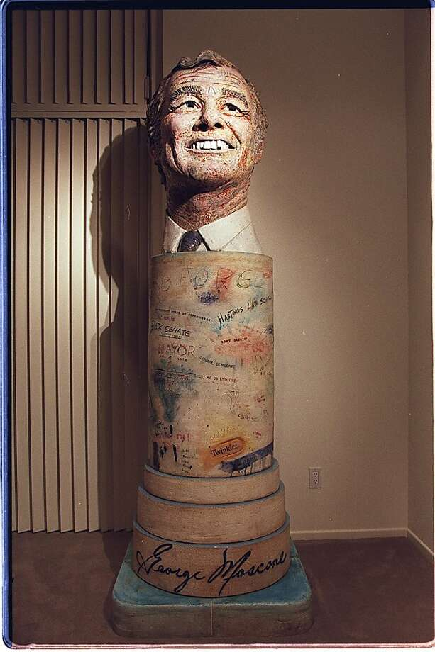 MOSCONE2/C/20NOV00/MN/BRIAN FITZGERALD FOR THE CHRONICLE. DR. JAY COOPER AND HIS WIFE, JOYCE OWNS A SCULPTURE OF FORMER SAN FRANCISCO MAYOR GEORGE MOSCONE IN THEIR SCOTTSDALE HOME. Photo: Brian Fitzgerald