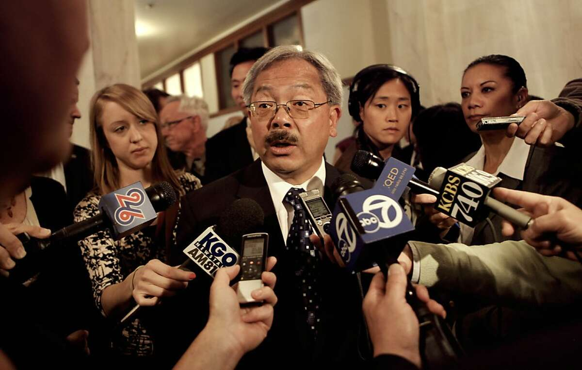 San Francisco Mayor Ed Lee speaks with the media after presenting his proposed budget for Fiscal years 2012-2013 and 2013-2014, outside the Board of Supervisor's chambers, on Thursday May 31, 2012, in San Francisco, Ca.