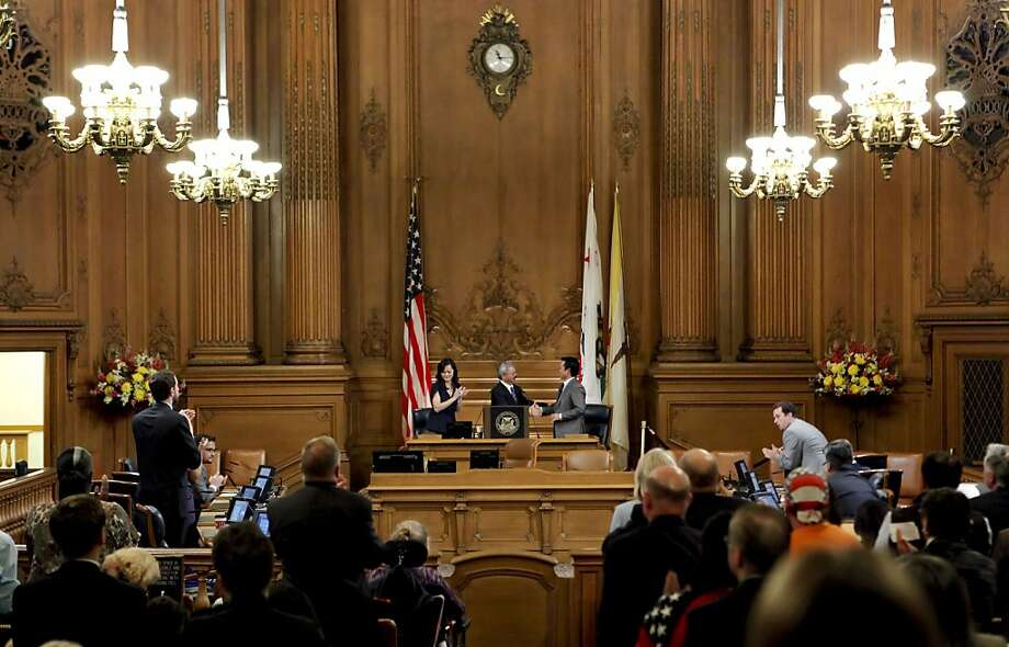 Besides expanding live coverage far beyond the 30 or so city meetings now televised or taped, Prop. E also requires the city to allow at least 30 minutes of taped or live video testimony on any meeting item open to public discussion. Photo: Michael Macor, The Chronicle