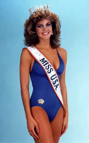 Californian Julie Hayek, Miss USA 1983, poses for one of her official swimsuit photos. Photo: Miss Universe L.P., LLLP