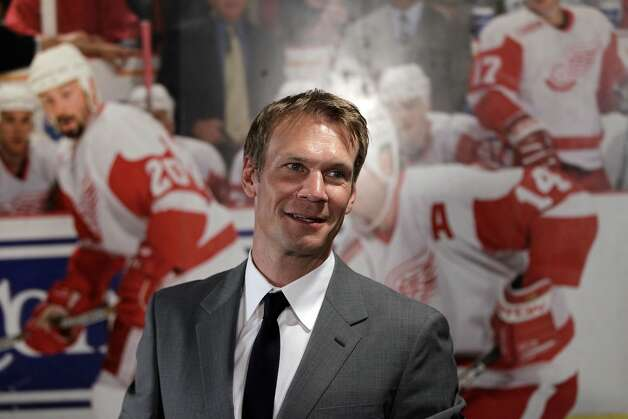 Detroit Red Wings captain Nicklas Lidstrom of Sweden is interviewed after announcing his retirement in Detroit, Thursday, May 31, 2012. Lidstrom retires after a 20-season career.  (AP Photo/Carlos Osorio) Photo: Carlos Osorio, Associated Press
