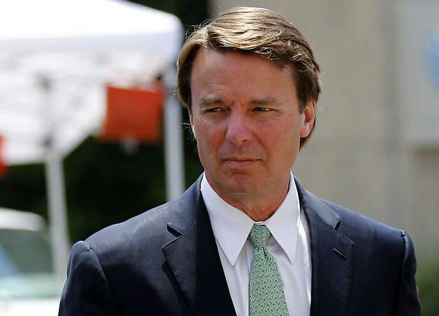 John Edwards returns to a federal courthouse during the ninth day of jury deliberations in his trial on charges of campaign corruption in Greensboro, N.C., Thursday, May 31, 2012. Edwards has pleaded not guilty to six counts related to campaign finance violations over nearly $1 million from two wealthy donors used to help hide the Democrat's pregnant mistress as he sought the White House in 2008. (AP Photo/Chuck Burton) Photo: Chuck Burton, Associated Press