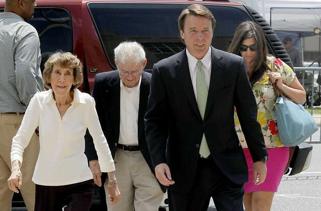 Former Sen. John Edwards and his family arrive at the federal courthouse in Greensboro, North Carolina, Thursday, May 31, 2012. Edwards was found not guilty on one of six counts in his campaign finance trial and announced it could not agree on the five remaining counts. (Chucky Liddy/Raleigh News & Observer/MCT) Photo: Chuck Liddy, McClatchy-Tribune News Service