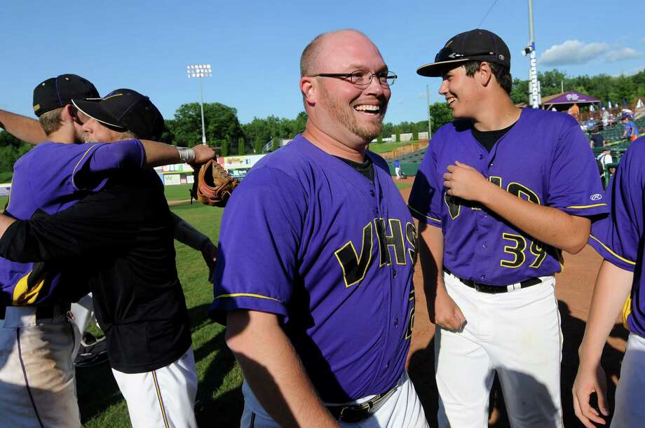 Voorheesville's coach Kyle Turski is all smiles when his team wins 6-1 over Hoosick Falls in the Class C final baseball game on Thursday, May 31, 2012, at Joseph L. Bruno Stadium in Troy, N.Y. (Cindy Schultz / Times Union) Photo: Cindy Schultz / 00017857A